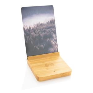 Bambus 5W Wireless Charger mit Fotorahmen, braun