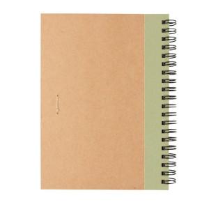 Kraft Spiral-Notizbuch mit Stift, grün