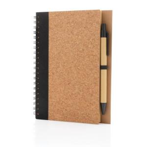 Kork Spiral-Notizbuch mit Stift, grün