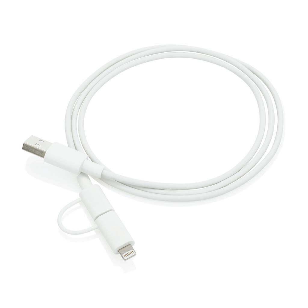 MFi lizensiertes 2-in-1 Kabel, weiß