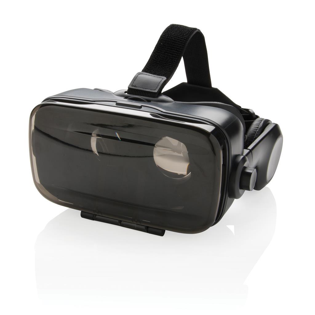 VR-Brille mit integriertem Kopfhörer, schwarz