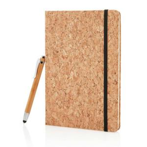 Kork A5 Notizbuch mit Bambus Stift und Stylus, braun
