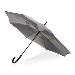 "Umgekehrter manueller 23"" Zoll Regenschirm, blau"