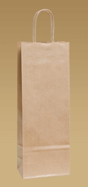 Umweltfreundliche Papiertüten für Wein mit einem verdrehten Ohr