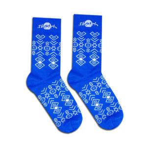 Blue socks with folk pattern