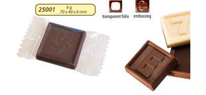Werbeschokolade mit einem Schokoladenlogo