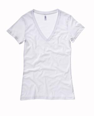 Damen Jersey Deep V-Neck T-Shirt