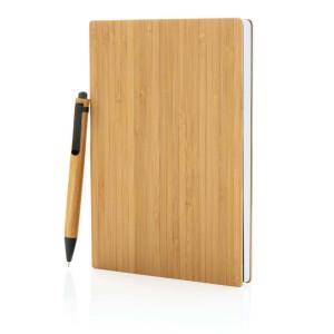 A5 Bambus Notizbuch & Stift, braun