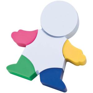 Figur mit 4 farbigen Textmarkern