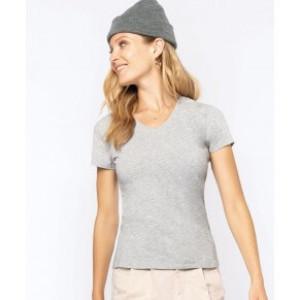 Damen V-Neck Stretch T-Shirt