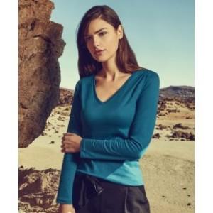 Damen X.O V-Neck T-Shirt langarm