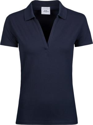 Damen Luxury Stretch V-Neck Polo
