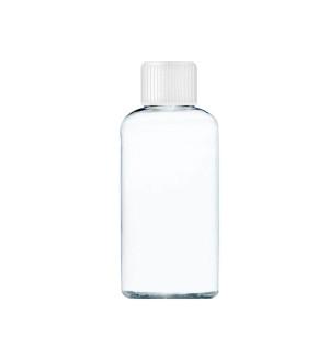 Transparente Flasche mit einem weißen Verschluss von 80 ml